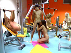 hot teen gets group fuck in the gym