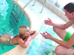 white hair teen taking cock in her ass in the pool