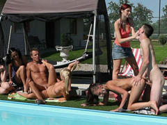 horny CFNM's in the pool