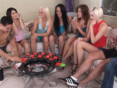 hot college girl gets group fuck on party