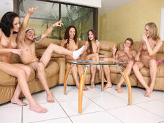 horny amateur in group sex on party