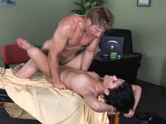 Jayden sucks cock on massage table