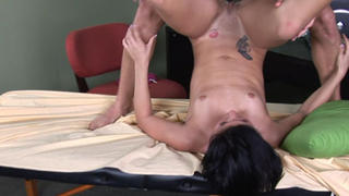 Nasty Jayden fucks on massage table