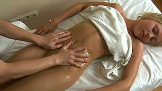 Crazy blonde banged by a masseur