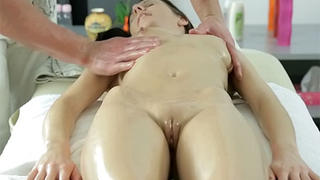 Teen pussy massaged and fucked