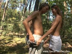 shaved teen couple penetrated outdoor