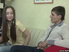 skinny brunette teen in sexy pants fucking her boyfriend