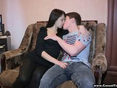 shaved dark hair teen in sexy pants swallow
