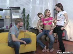 blond teen in sexy pants fucking in foursome on party